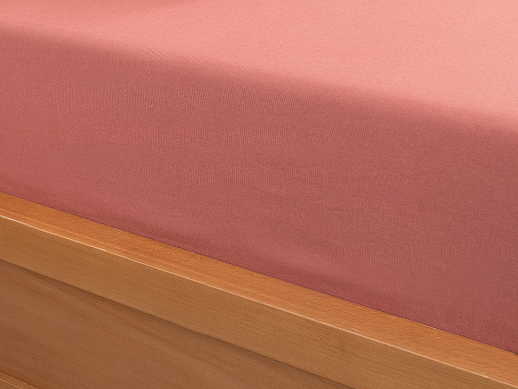Plain Cotton Fitted Bed Sheet Set Double Size 160x200 Cm Dark Dusty Rose