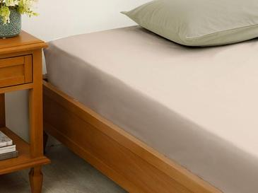 Plain Cotton Fitted Bed Sheet Double Size 160x200 Cm Coffee Foam