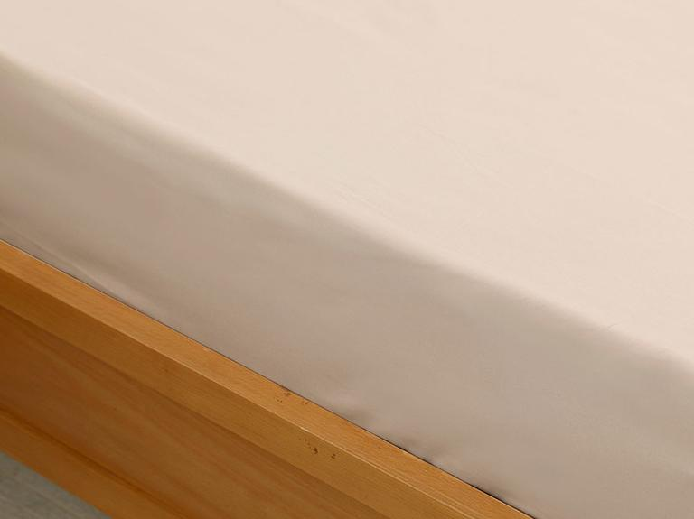 Plain Cotton Fitted Bed Sheet Single Size 100x200 Cm Coffee Foam