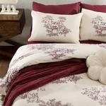 Village Life Cotton Duvet Cover Set Single Size 160x220 Cm Damson