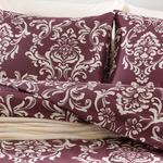 Ornamental Damasque Cotton Duvet Cover Set Super King 260x220 Cm Damson