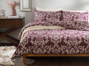 Ornamental Damasque Cotton Duvet Cover Set Single Size 160x220 Cm Damson