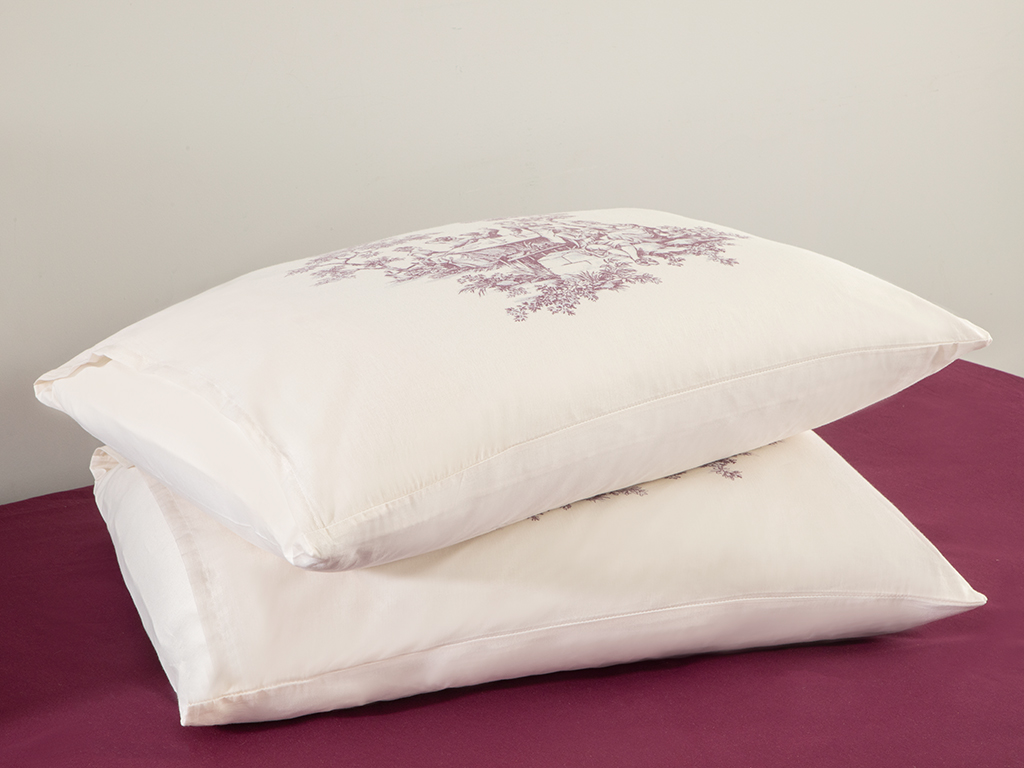 Village Life Cotton Pillowcase 2 Piece 50x70 Cm Damson