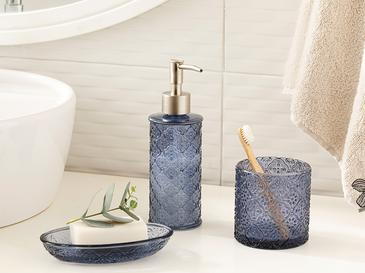 Blue Nature Glass 3 Set Bathroom Set Mavi