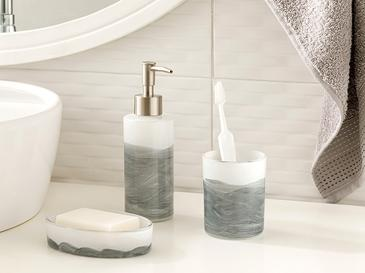 Ocean Waves Glass 3 Set Bathroom Set Gri