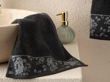 Rose Belle Bordered Hand Towel 30x40 Cm Anthracite