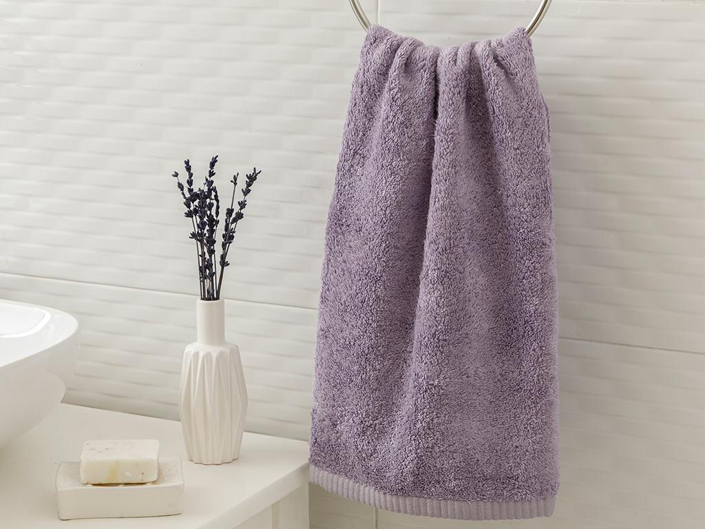 Leafy Bamboo Face Towel 50x90 Cm Lilac