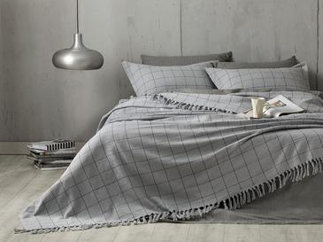 Check Weaved For One Person Bed Quılt Set 160x240 Cm Gri