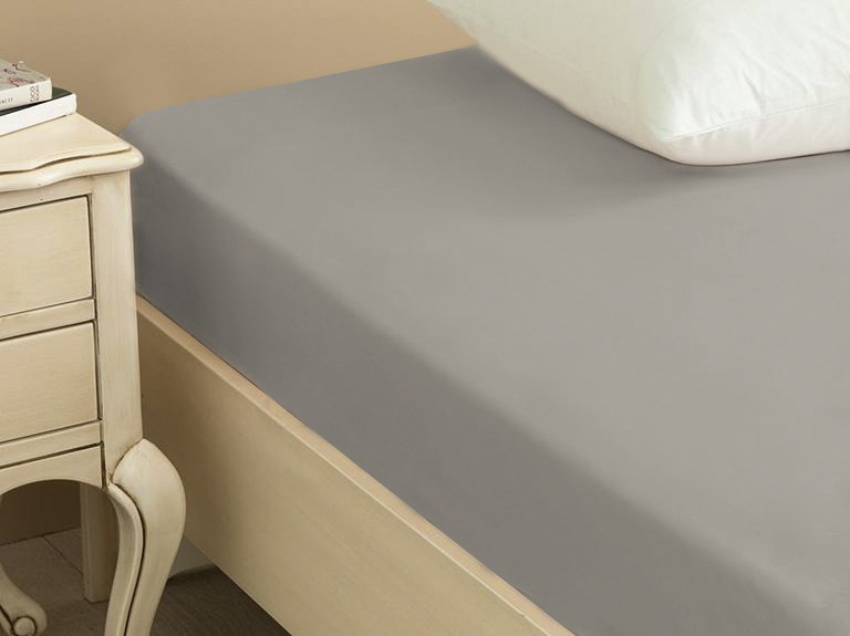 Plain Cotton Fitted Bed Sheet King Size 180x200 Cm Coffee Foam