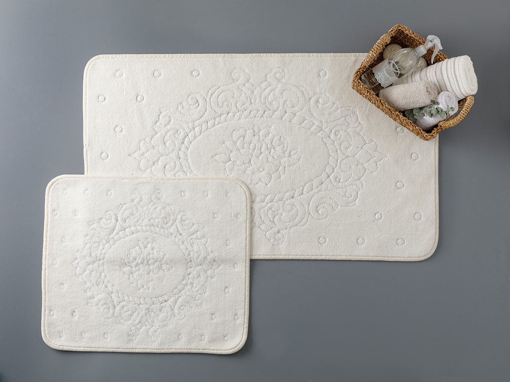 Alysa Cottony Bath Mat Set 60x100 - 50x60 Cm Krem