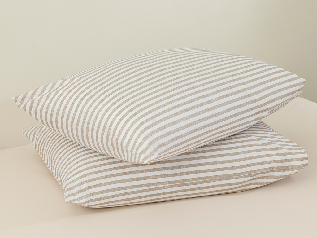 Modern Stripe Kombin Cottony 2 Set Pıllowcase 50x70 Cm Bej