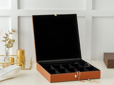 Adela Leather Jewelry Box 33x33x7 Cm Camel