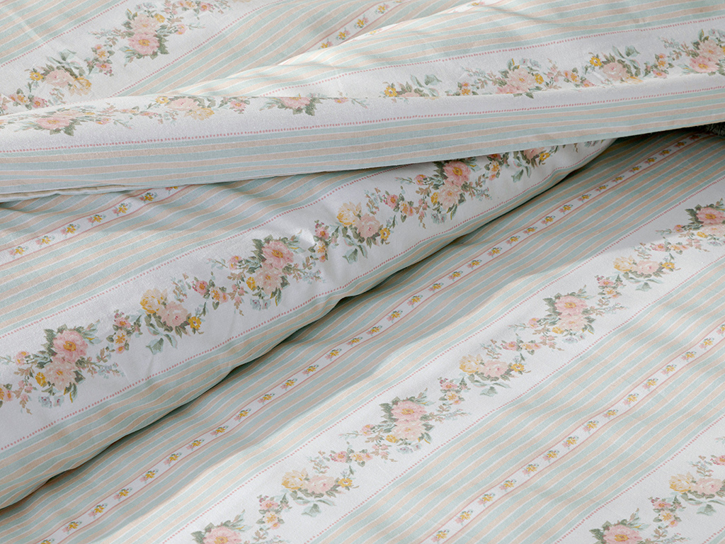 Floral Stripe Cotton Duvet Cover Set Super King 260x220 Cm Light Celadon