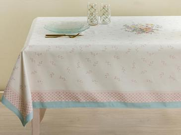 Rosalinda 4 Polyester Square Table Cloth 100x100 Cm White-Blue