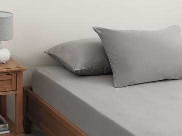 Plain Combed Cotton Fitted Bed Sheet Set Single Size 100x200 Cm Pebble