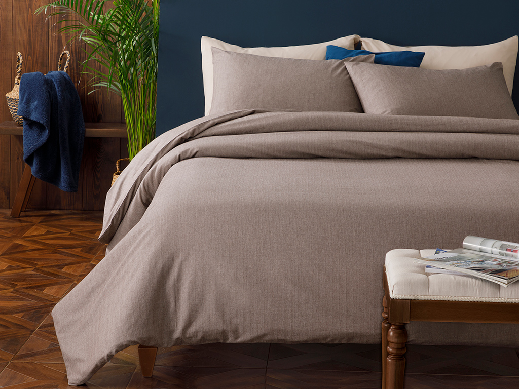 Sharp Twill Suit Duvet Cover Full Set Double Size 200x220 Cm Coffee