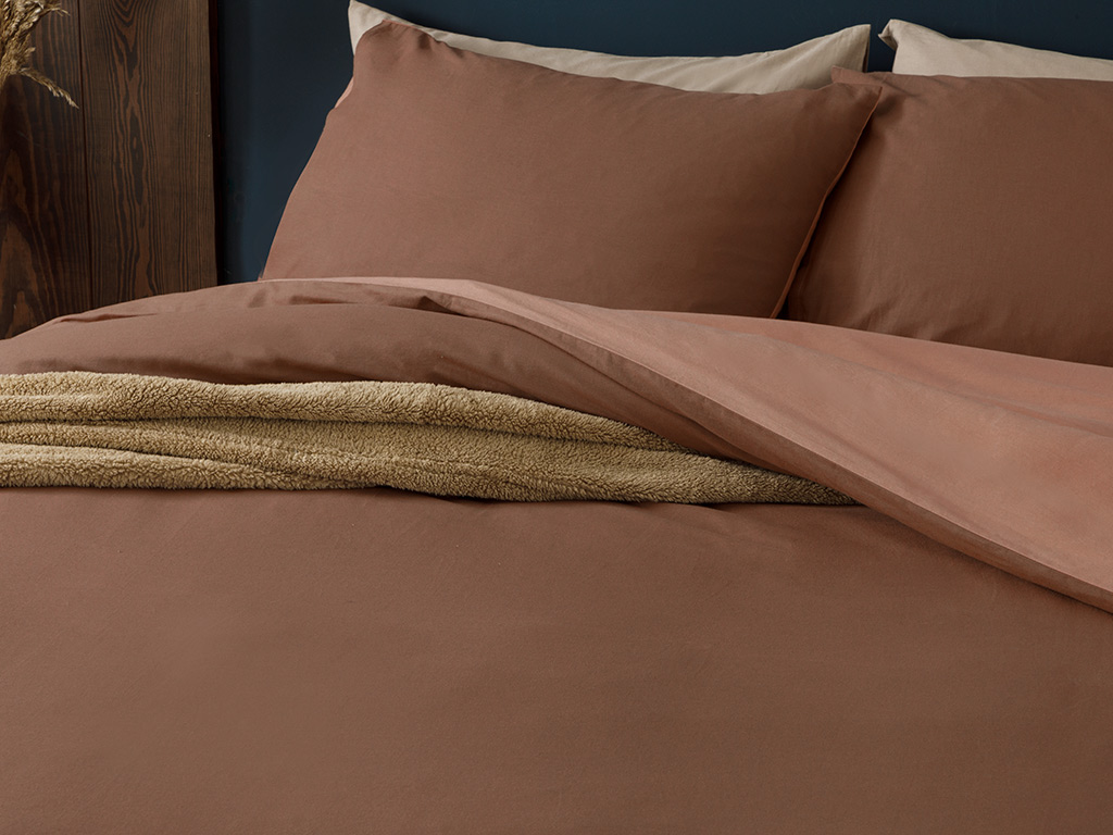 Plain Cotton Duvet Cover Full Set Single Size 160x220 Cm Coffee-Nude