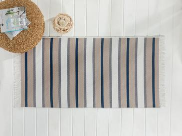 Timeless Stripe Weaved Double Sided Rug 80x150 Cm Gray-navy Blue