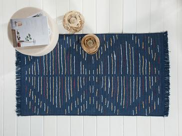 Retro Stripe Weaved Double Sided Rug 80x150 Cm White-navyblue