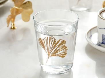 Glass Water Glass For Serving With Coffee 6 Pieces Water Glass 12,9x12,5x2,3 Cm Gold