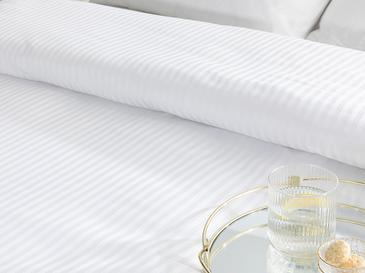 1 Cm Çizgili Cotton Satin For One Person Duvet Cover 140x200 Cm White