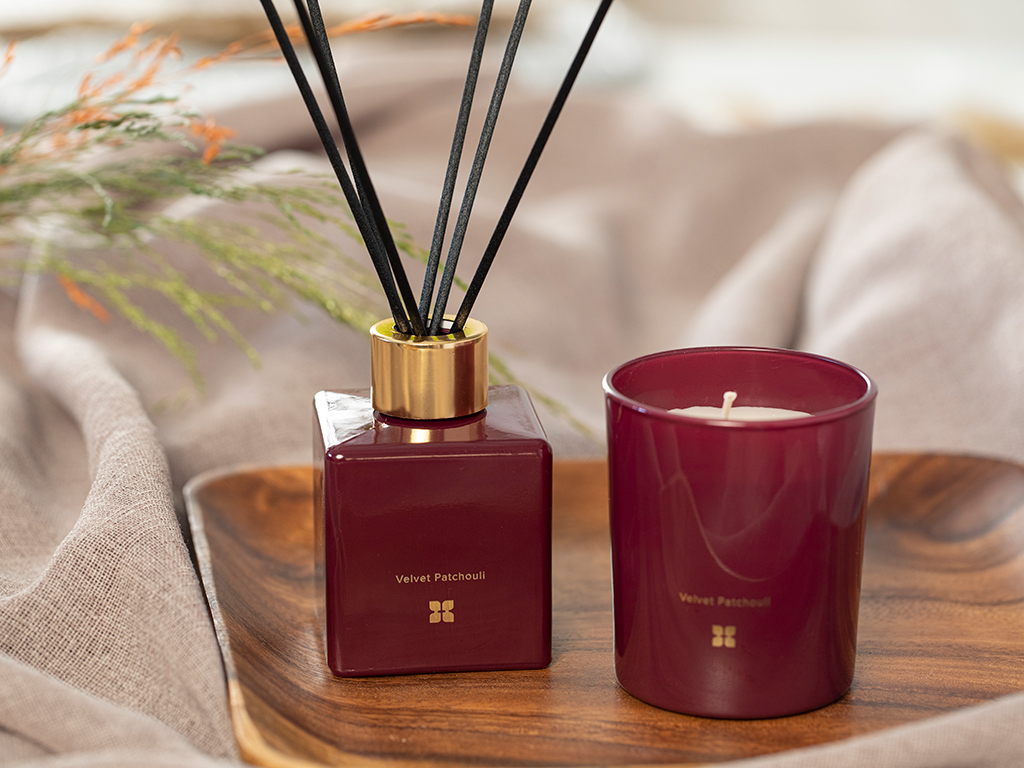 Scented Set Of 2 Pieces Scented Set Claret Red