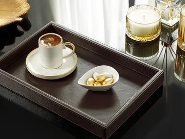 Leather Imitation Leather Tray 16x16x4 Cm Brown