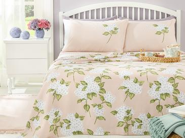 Hydrangea Printed For One Person Summer Blanket Set 150x220 Cm Pembe