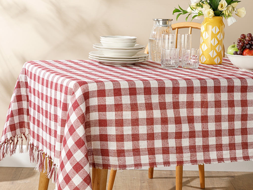 Plaid Cotton Polyester Fringed Table Cloth 150x200 Cm Claret Red