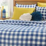 Gingham Printed For One Person Summer Blanket 150x220 Cm Dark Blue