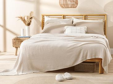 Painted Yarn Double Person Summer Blanket 200x220 Cm. Beige