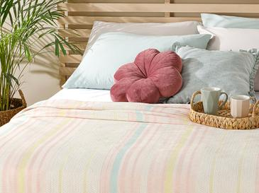 Painted Yarn Double Person Summer Blanket 200x220 Cm. Pembe - Mint