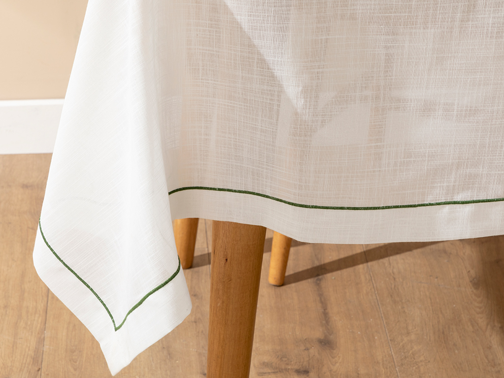 Tropical Polyestere Table Cloth 150x200 Cm White-green