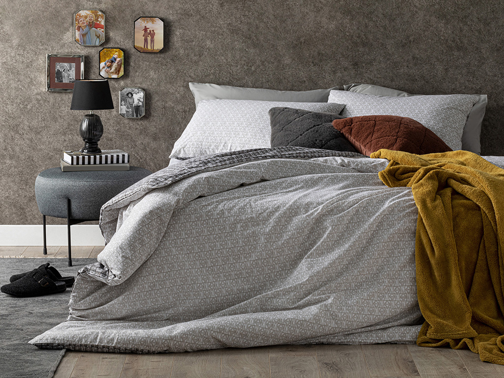 Cottony For One Person Duvet Cover Set Pack 160x220 Cm Gray